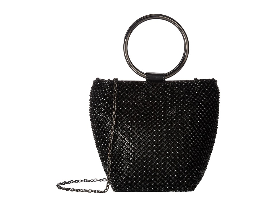Jessica McClintock - Gwen Ball Mesh Ring Wristlet Pouch Clutch (Black) Clutch Handbags