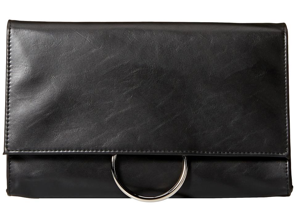 Jessica McClintock - Nora Ring Flap Clutch (Black) Clutch Handbags