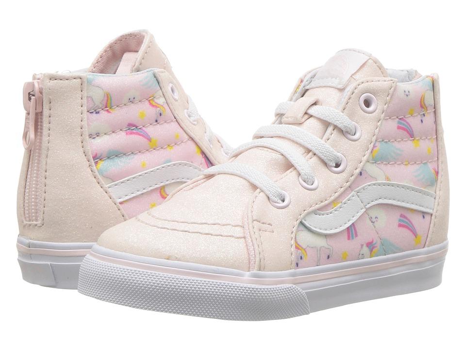 Vans Kids Sk8-Hi Zip (Infant/Toddler) ((Glitter Pegasus) Heavenly Pink/True White) Girls Shoes