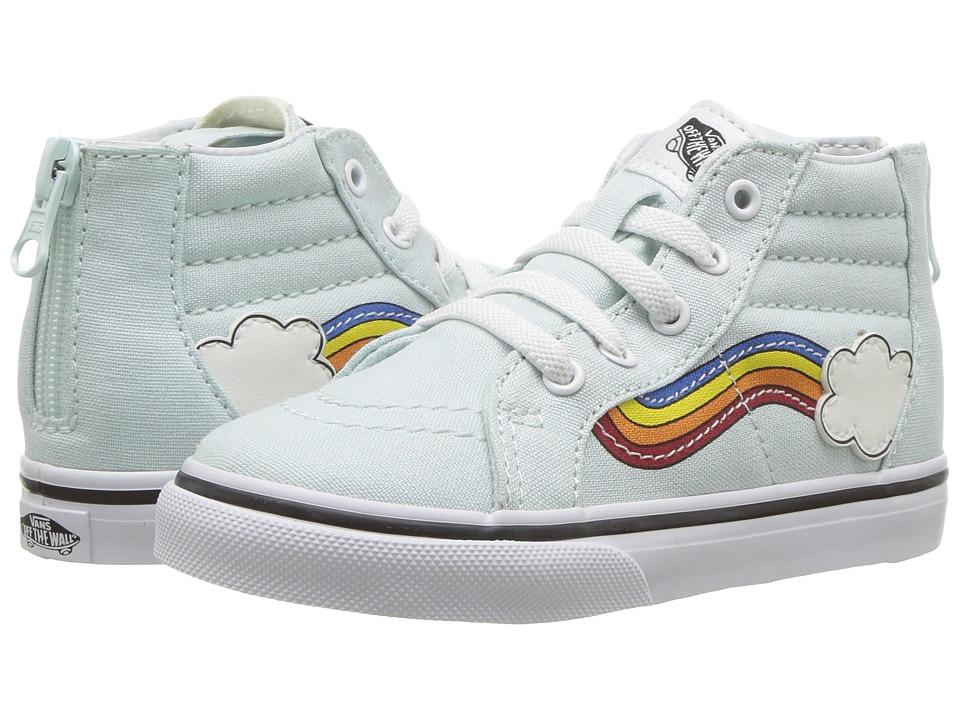 Vans Kids Sk8-Hi Zip (Infant/Toddler) ((Rainbow Sidestripe) Wan Blue/True White) Girls Shoes