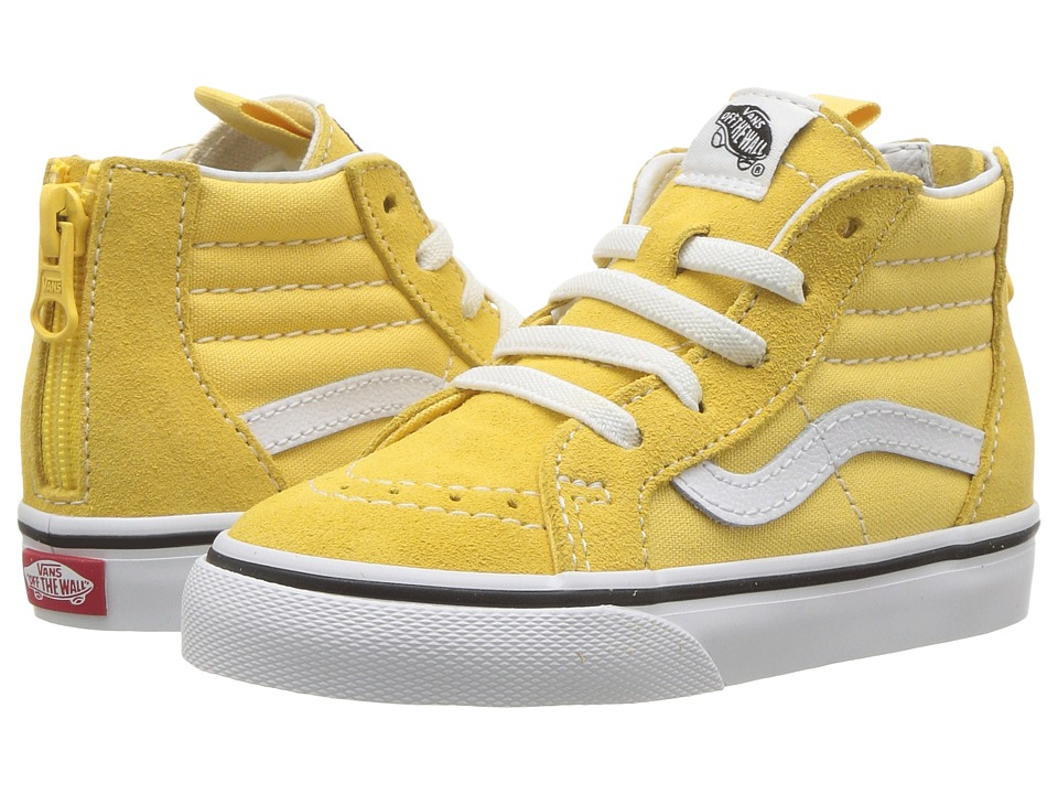 Vans Kids Sk8-Hi Zip (Infant/Toddler) (Yellow/True White) Girls Shoes