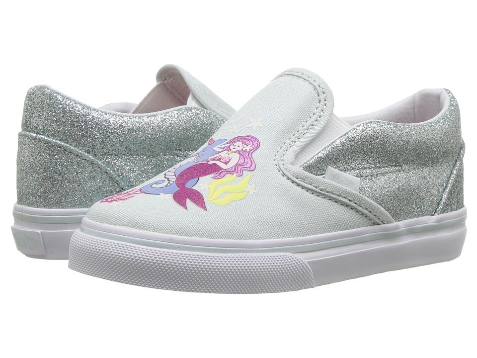 Vans Kids Classic Slip-On (Infant/Toddler) ((Mermaid) Multi/True White) Girls Shoes