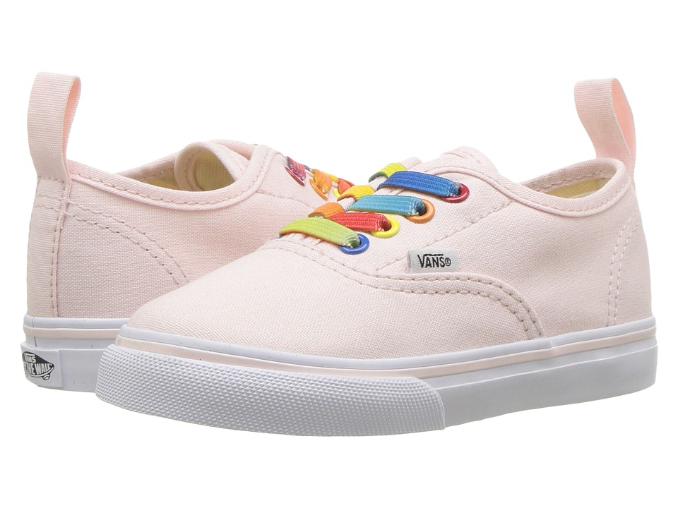Vans Kids Authentic Elastic Lace (Infant/Toddler) ((Rainbow Shine) Heavenly Pink/True White) Girls Shoes