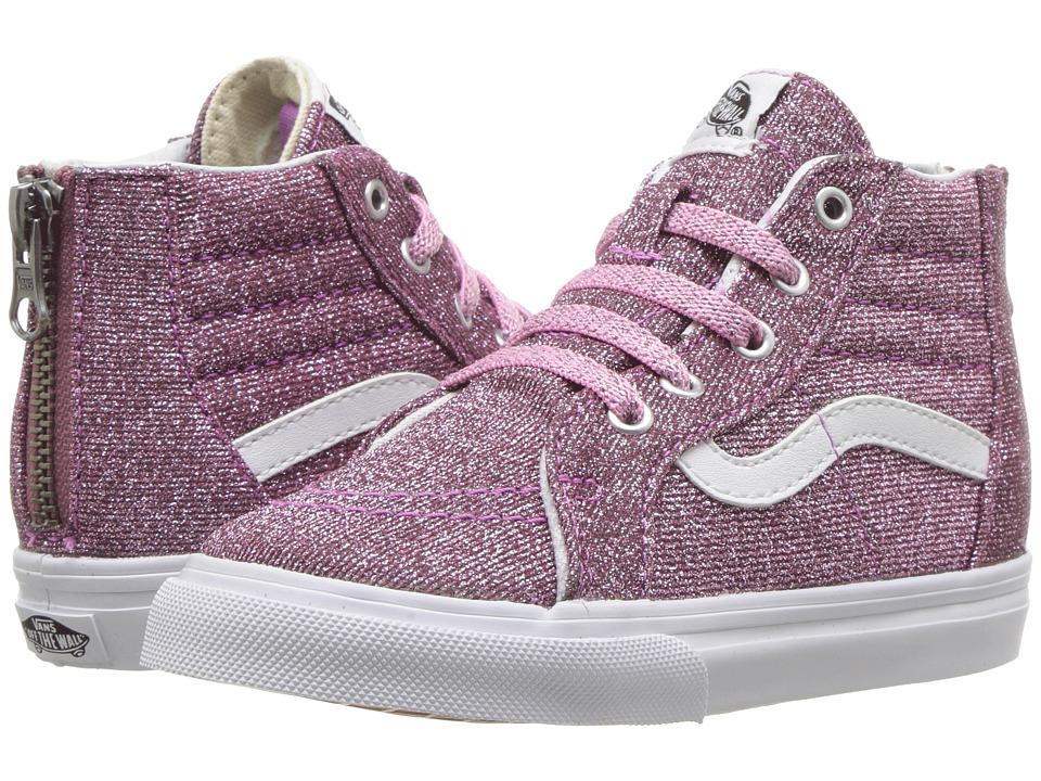 Vans Kids Sk8-Hi Zip (Infant/Toddler) ((Lurex Glitter) Pink/True White) Girls Shoes