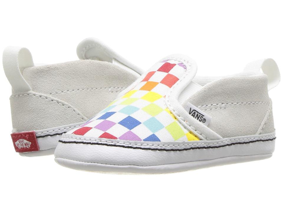 Vans Kids Slip-On V Crib (Infant/Toddler) ((Checkerboard) Rainbow/True White) Girls Shoes