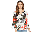 Calvin Klein Printed Long Sleeve Blouse w/ Pipping Hardware