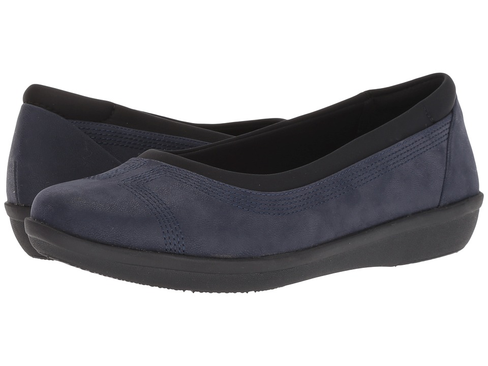 Clarks Ayla Low (Navy Synthetic Nubuck) Women's Shoes