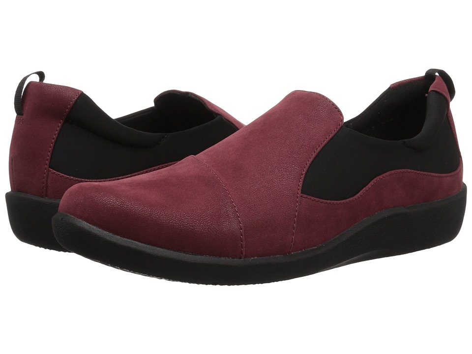Clarks Sillian Paz (Burgundy Synthetic Nubuck) Women's Shoes