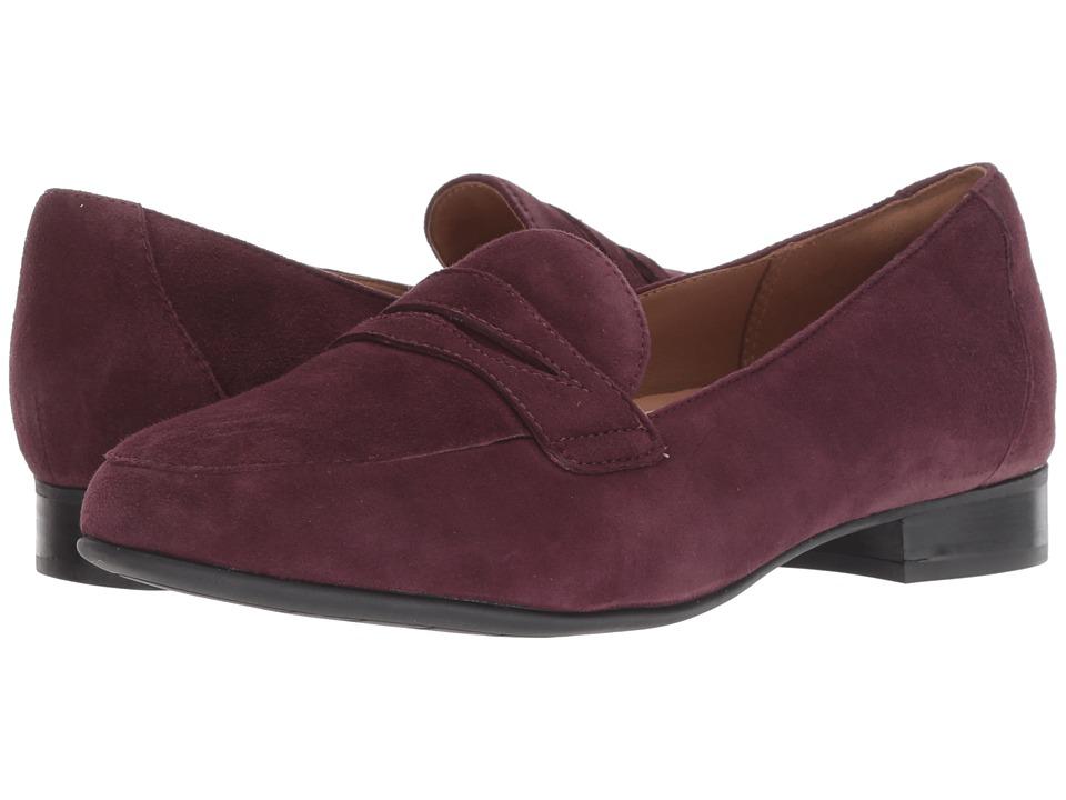 Clarks Un Blush Go (Aubergine Suede) Women's Shoes
