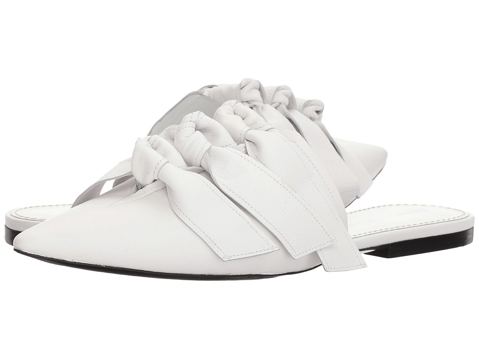 Proenza Schouler - Lamb Bow Flat Mule (White) Womens Flat Shoes