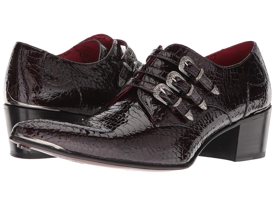 Jeffery-West - Three Punk Western Buckles Monk Shoe (Creta Wine) Mens Shoes