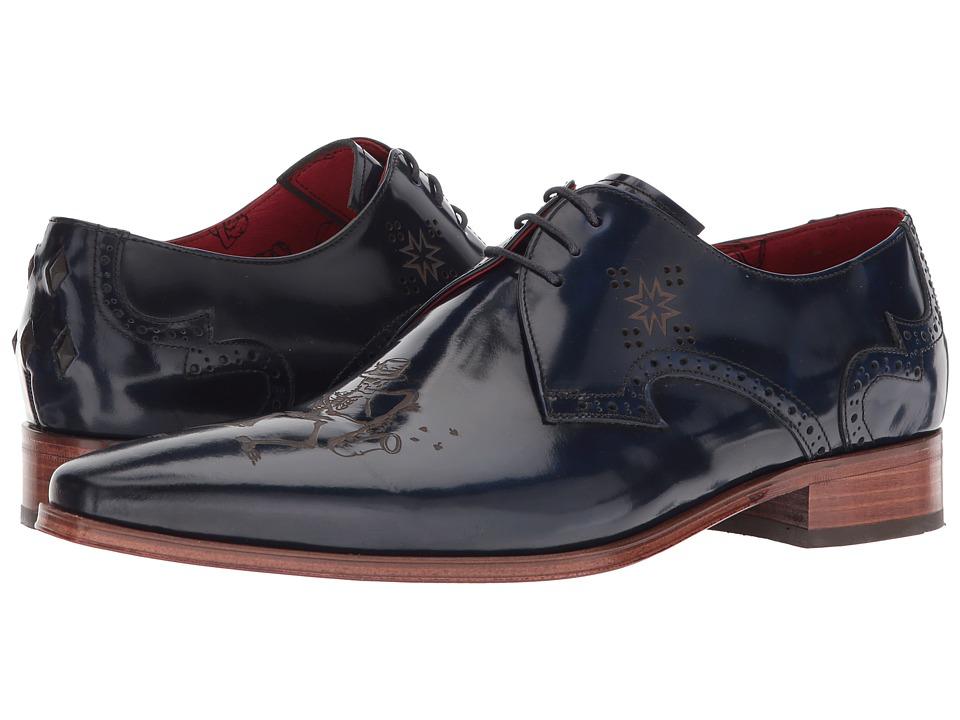 Jeffery-West - Without Music Laser Cute Lace Shoe (Blue) Mens Shoes