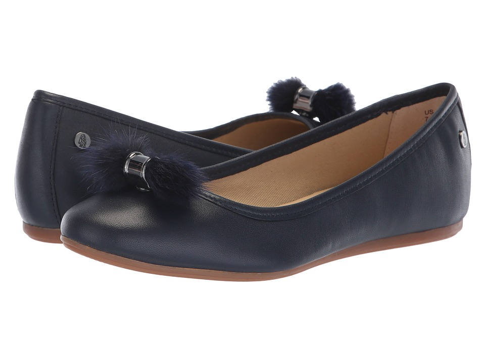 Hush Puppies Heather Puff Ballet (Navy Leather) Slip-On Shoes