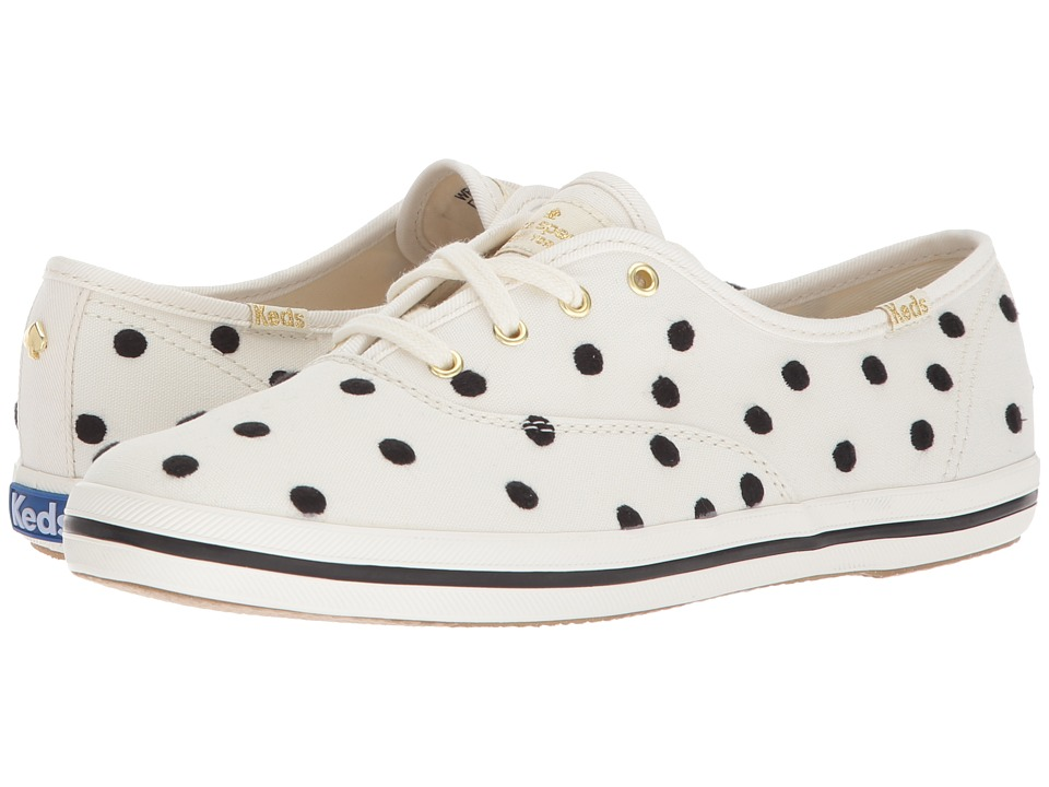Retro Vintage Flats and Low Heel Shoes Keds x kate spade new york - Champion Dancing Dot WhiteBlack Womens Shoes $78.00 AT vintagedancer.com