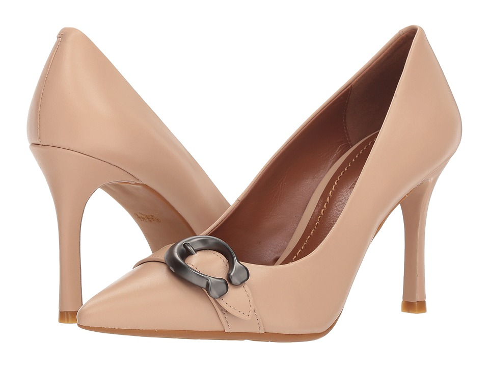 COACH Waverly 85mm Pump with Signature Buckle (Beechwood Leather) High Heels