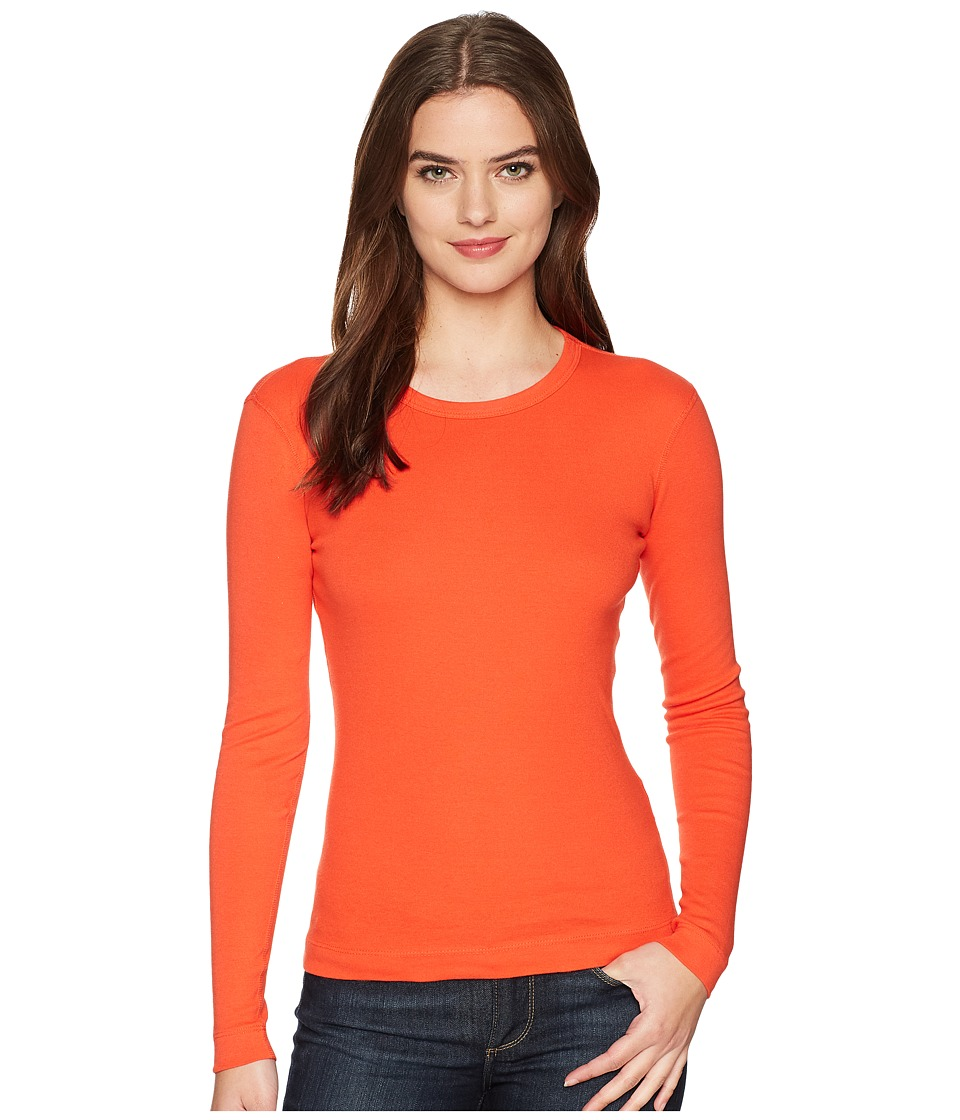 Three Dots - Long Sleeve Crew (Bing Cherry) Womens Clothing