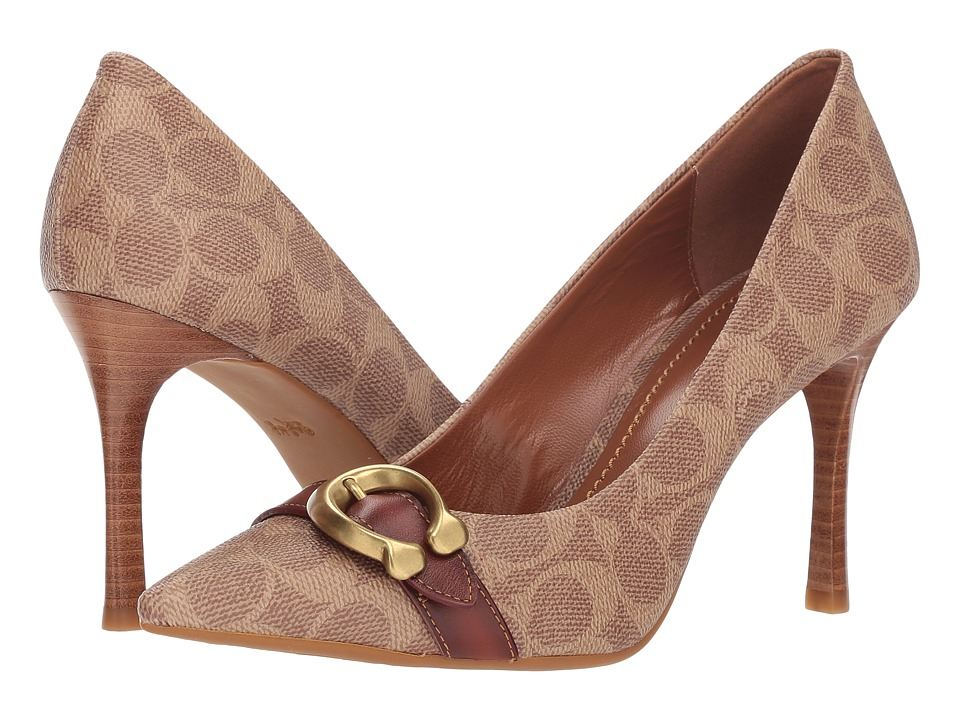COACH Waverly 85mm Pump with Signature Buckle (Tan/Rust Signature Coated Canvas) High Heels