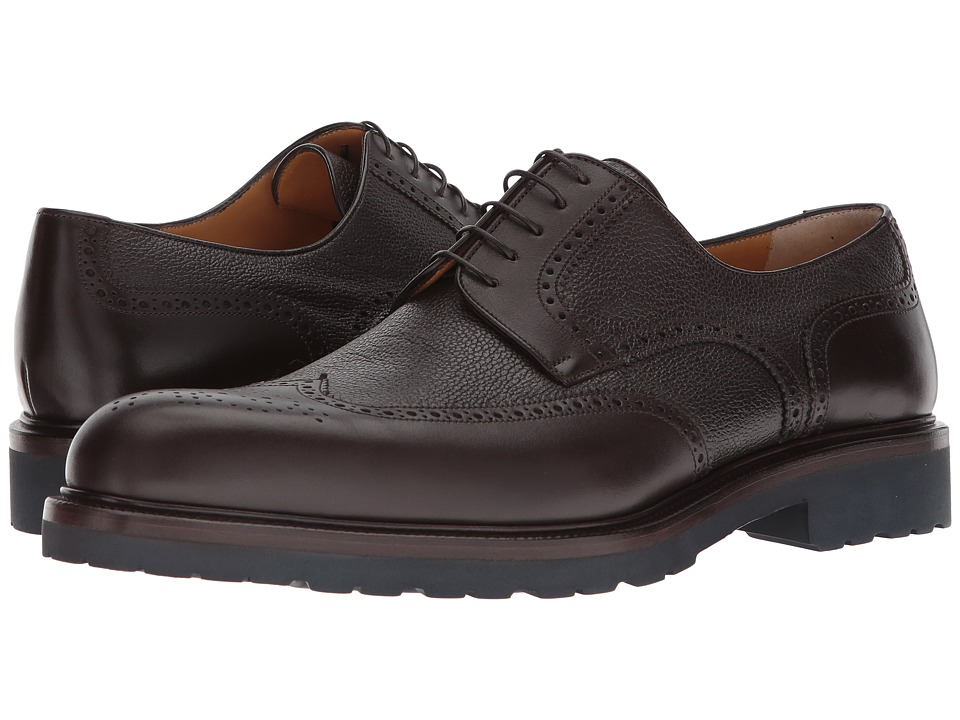 a. testoni - Mixed Media Rubber Sole Wingtip Derby (Ebony) Mens Lace Up Wing Tip Shoes