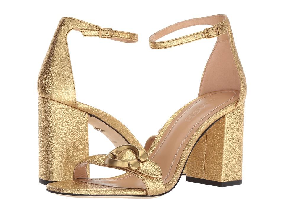 COACH Maya 85mm Sandal with Signature Buckle (Gold Metallic Rock) High Heels