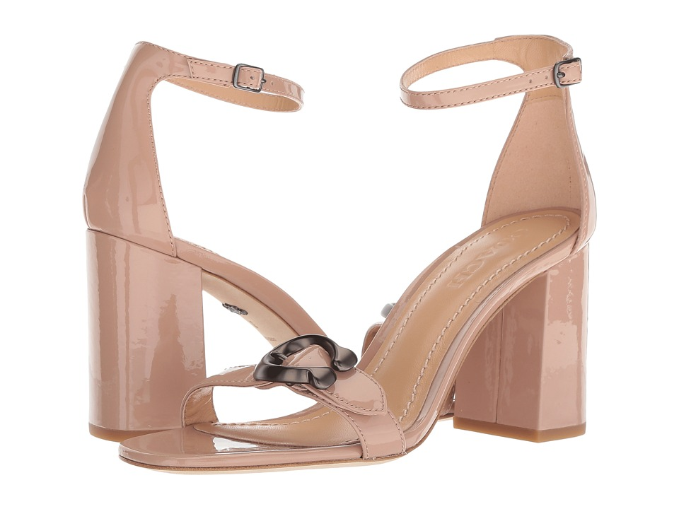 COACH Maya 85mm Sandal with Signature Buckle (Blush Patent) High Heels