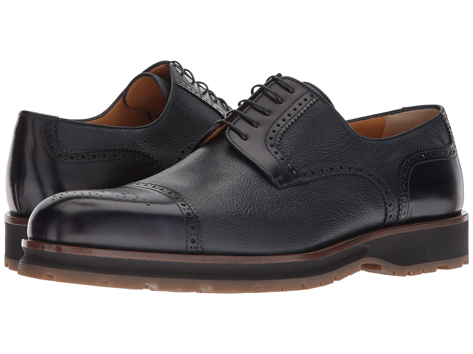 a. testoni - Mixed Media Rubber Sole Cap Toe Derby (Navy) Mens Lace Up Cap Toe Shoes