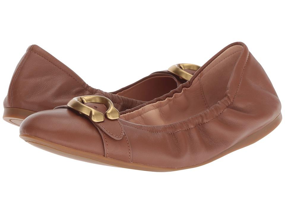 COACH Stanton Ballet with Signature Buckle (Lion Leather) Women's Shoes