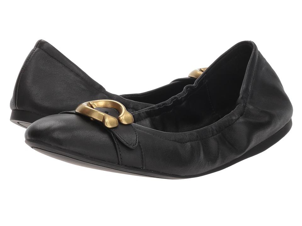 COACH Stanton Ballet with Signature Buckle (Black Leather) Women's Shoes