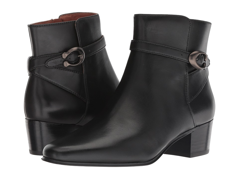 COACH Chrystie Bootie with Signature Buckle (Black Leather)