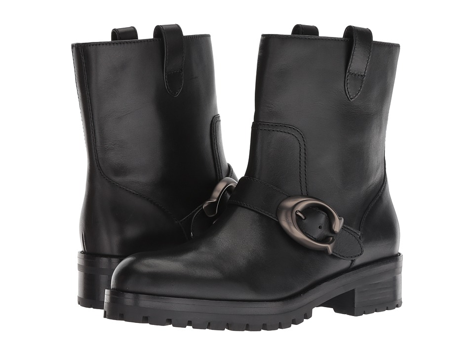 COACH Leighton Bootie with Signature Buckle (Black Leather)