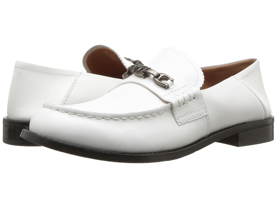 COACH Putnam Loafer with Signature Chain (White Leather) Women's Shoes