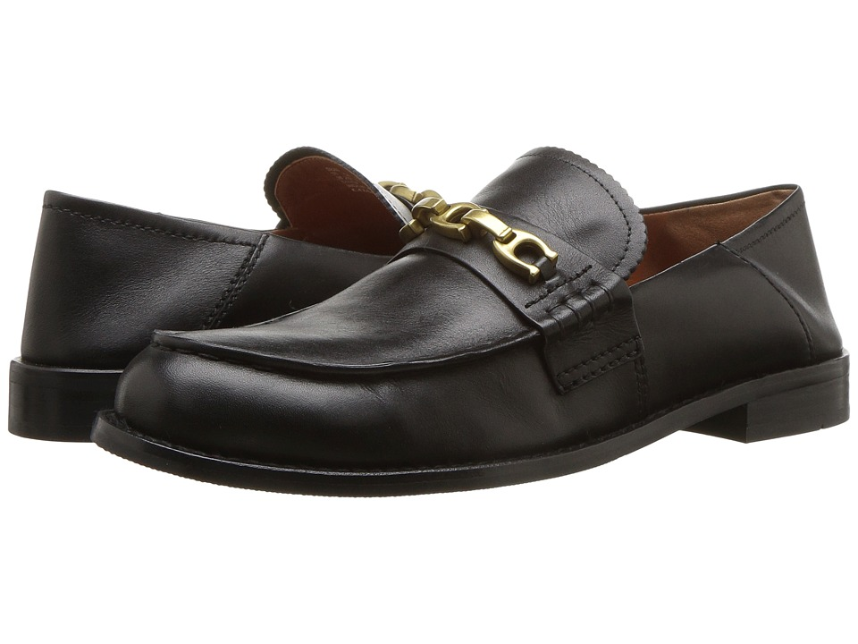 COACH Putnam Loafer with Signature Chain (Black Leather) Women's Shoes