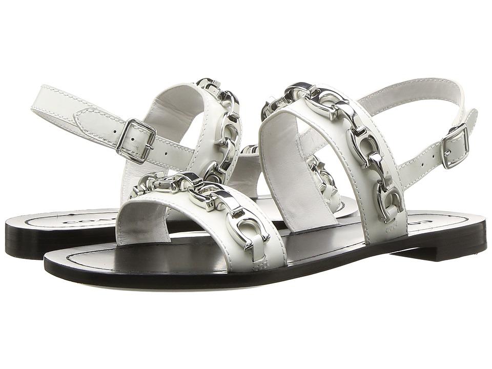 COACH Eden Flat Sandal with Signature Chain (White Cordovan) Sandals
