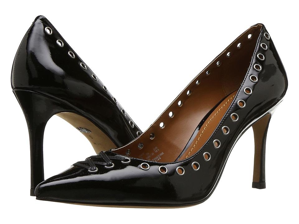 COACH Varick 85mm Lace-Up Pump (Black Patent) High Heels