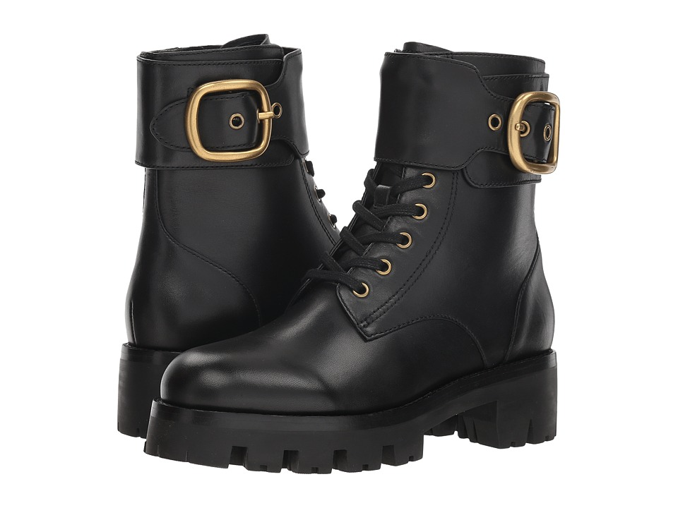 COACH Lucy Lace-Up Bootie (Black Leather)