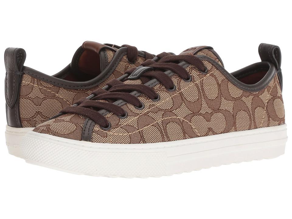 COACH C121 Low Top Sneaker (Khaki/Chestnut Signature C) Women's Shoes