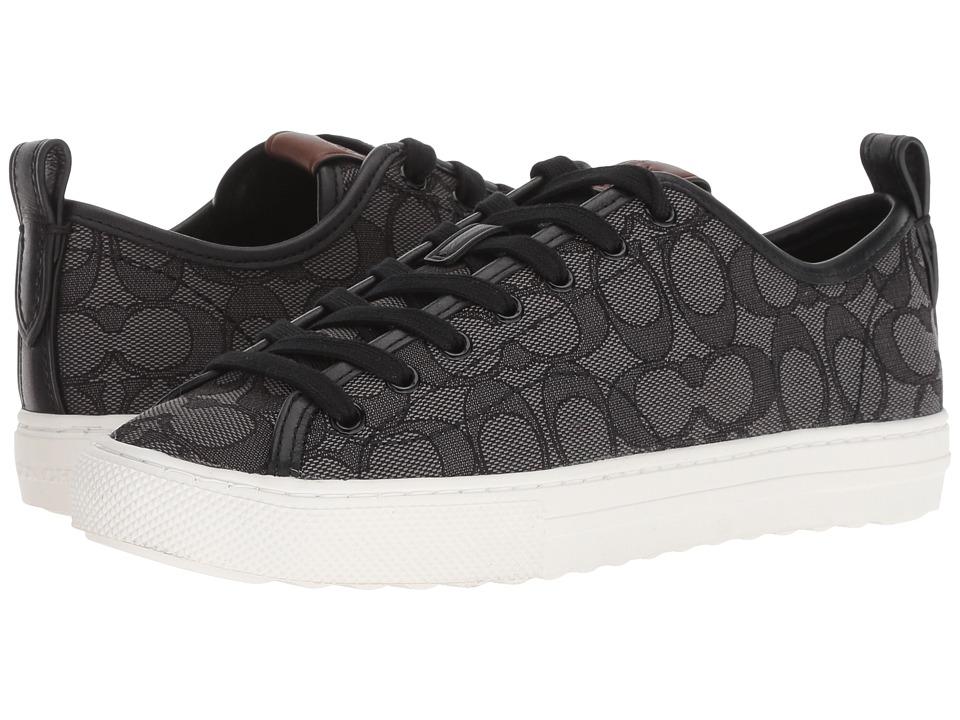 COACH C121 Low Top Sneaker (Black Smoke/Black Signature C) Women's Shoes