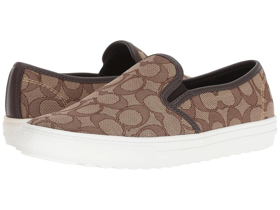 COACH C115 (Khaki/Chestnut Signature C) Slip-On Shoes