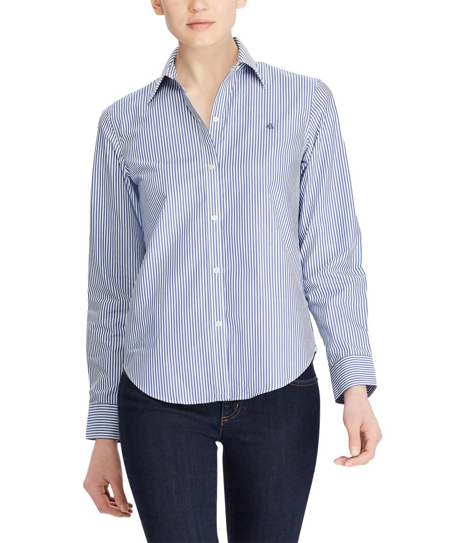Ralph Lauren Petite Striped Cotton Shirt (Blue/White) Wom...