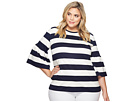 LAUREN Ralph Lauren LAUREN Ralph Lauren Plus Size Striped Ponte Bell-Sleeve Top