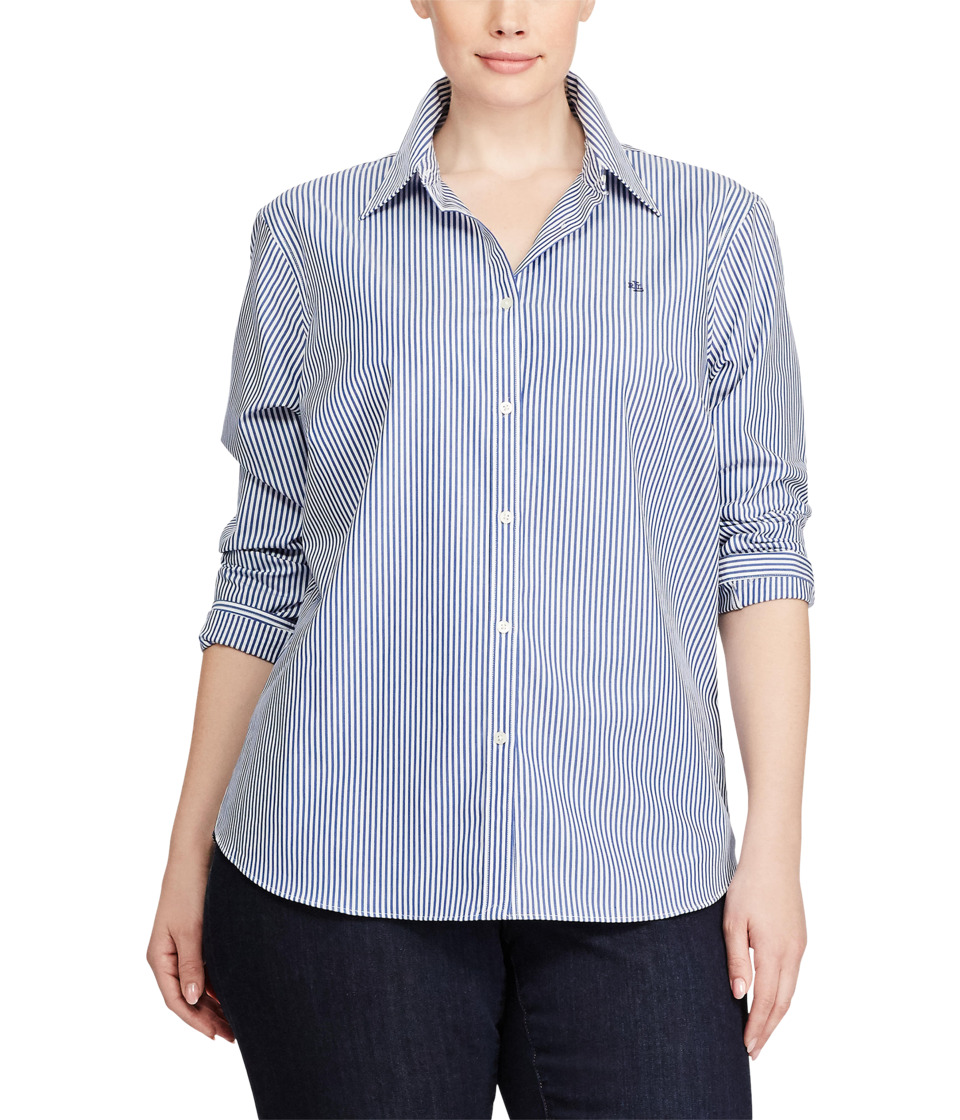 Ralph Lauren Plus Size Striped Cotton Shirt (Blue/White) ...
