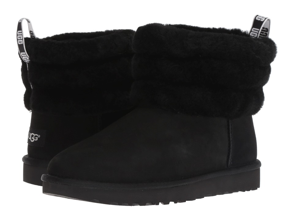 UGG Fluff Mini Quilted (Black) Women's Pull-on Boots