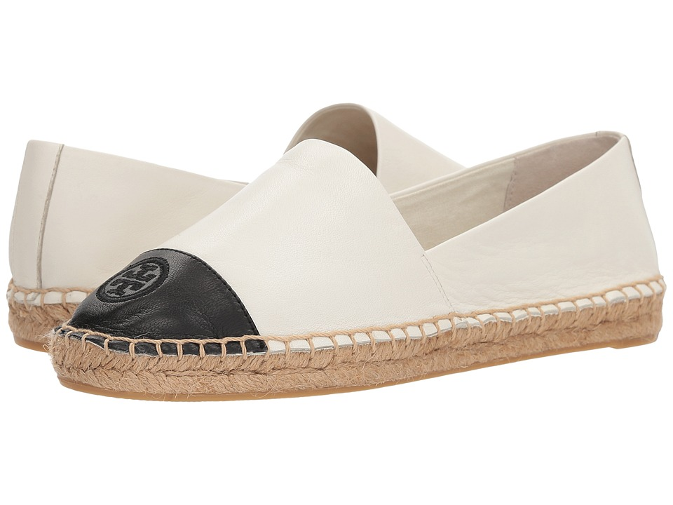 Tory Burch Color Block Flat Espadrille (Ivory/Black Leather) Women's Shoes