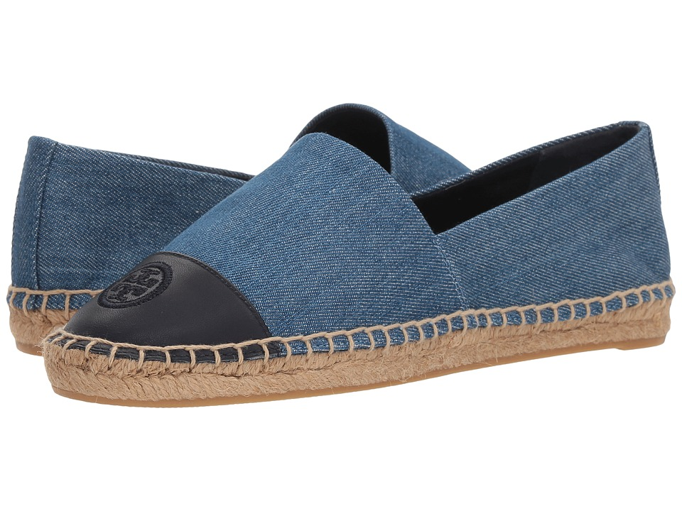 Tory Burch Color Block Flat Espadrille (Denim Chambray) Women's Shoes