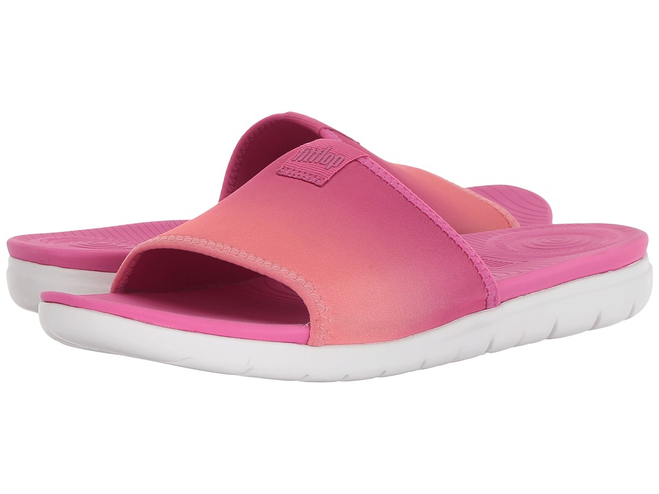 FitFlop - Neoflex Pool Slide Sandals (Coral/Fuchsia) Womens  Shoes