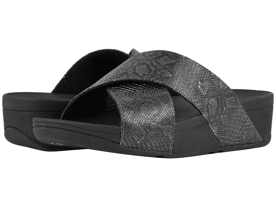 FitFlop - Lulu Python Print Slide Sandals (Black) Womens  Shoes