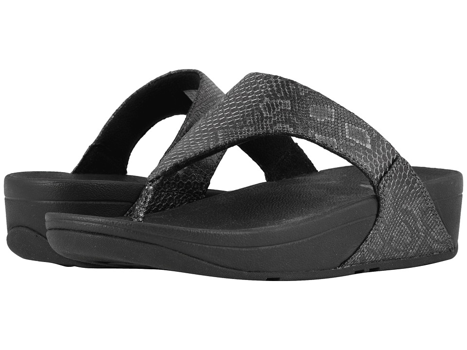 FitFlop - Lulu Python Print Toe Thong Sandals (Black) Womens  Shoes