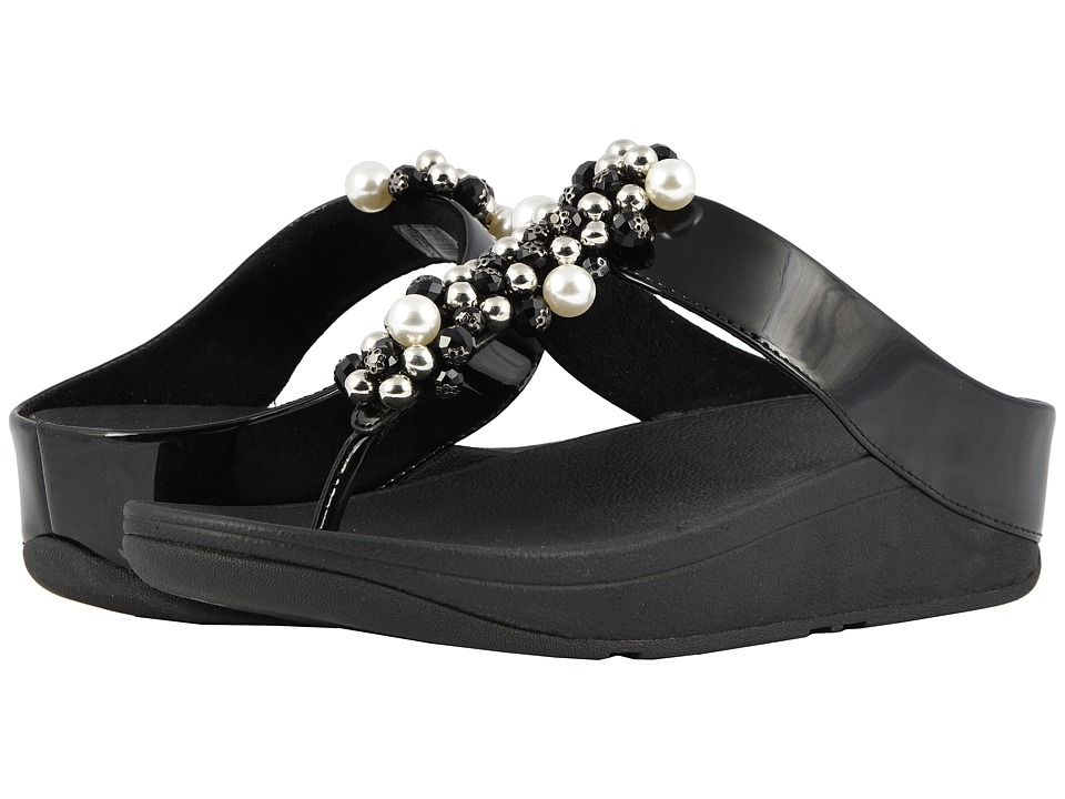 FitFlop Deco Toe Thong Sandals (Black) Women's Shoes