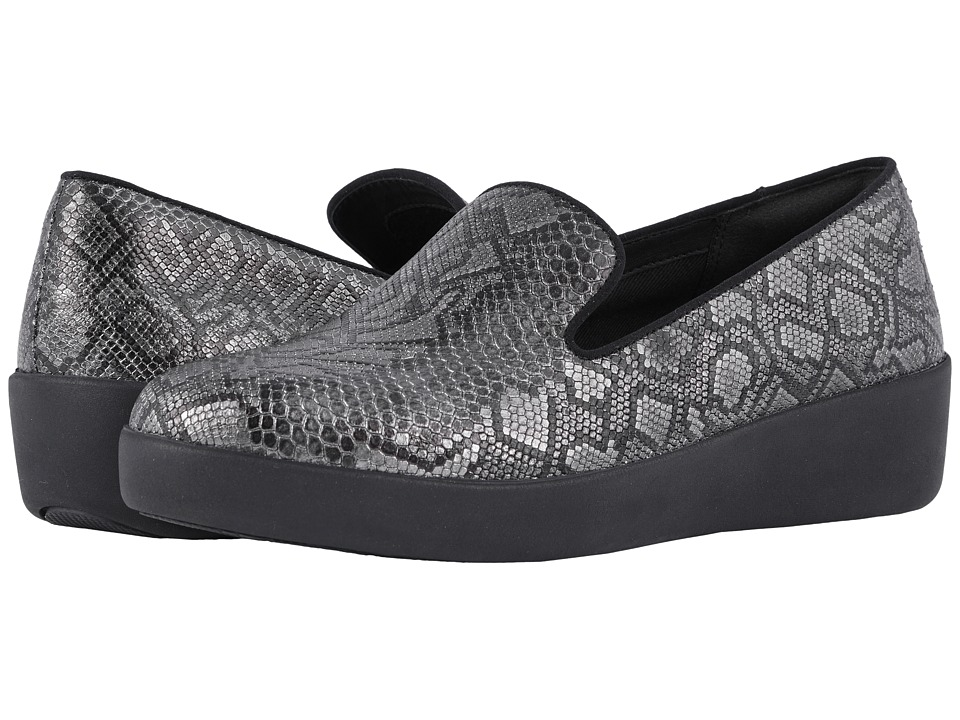 FitFlop Audrey Python Print Smoking Slippers (Black) Women's Shoes