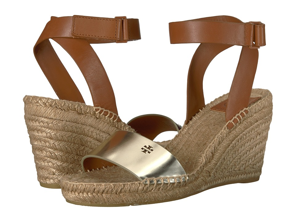 Tory Burch Bima 2 90mm Wedge Espadrille (Gold/Perfect Cuoio) Women's Shoes