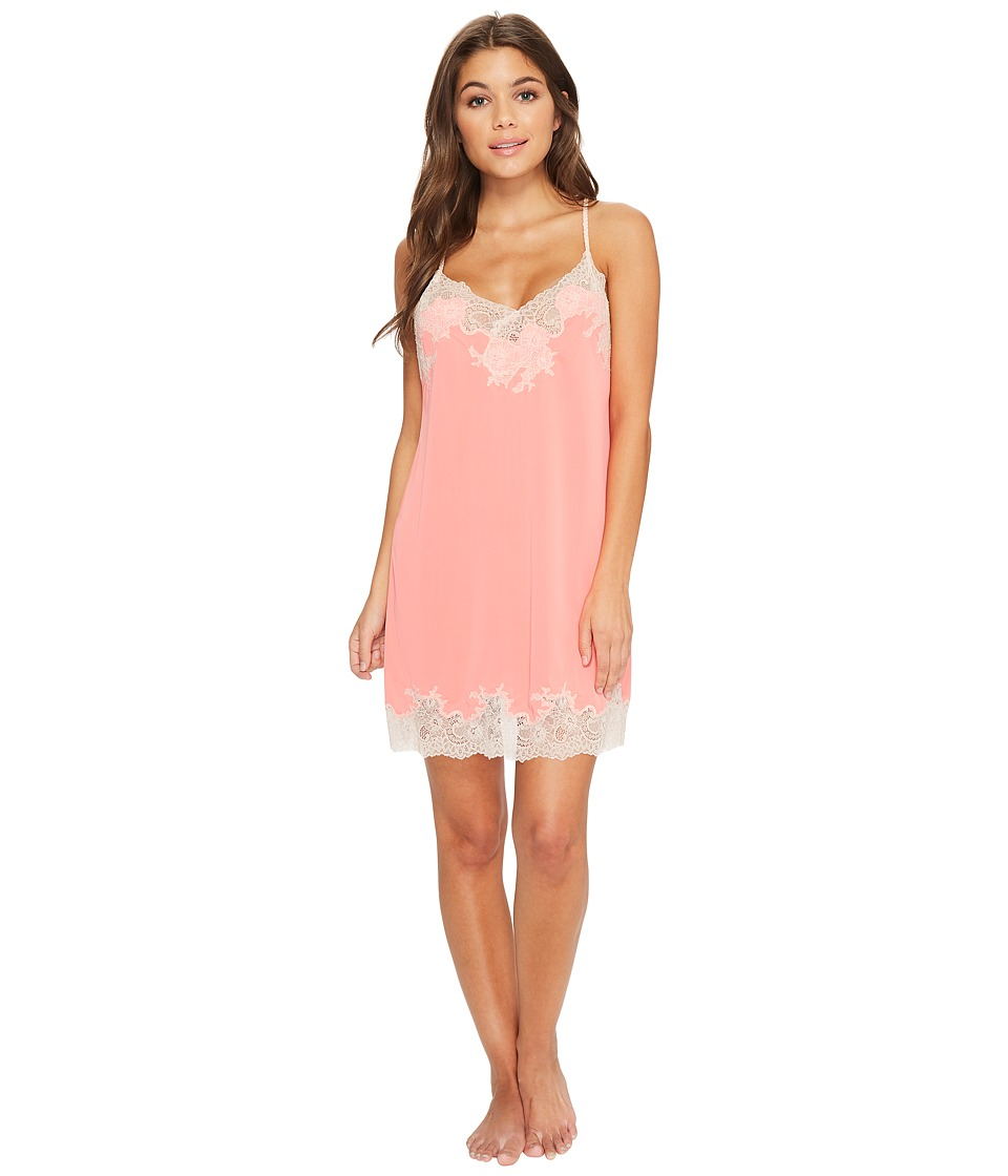 Natori - Enchant Lace Trim Chemise (Coral Peach/Cameo Rose Lace) Womens Pajama